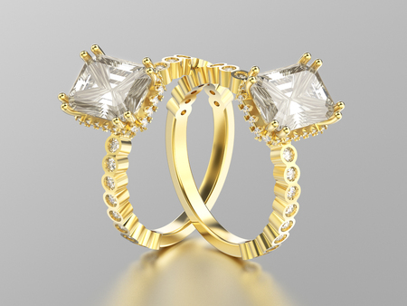 3D illustration two yellow gold diamonds decorative rings with reflection on a white background
