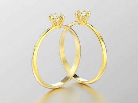 3D illustration two yellow gold traditional solitaire engagement diamond rings with reflection on a white background