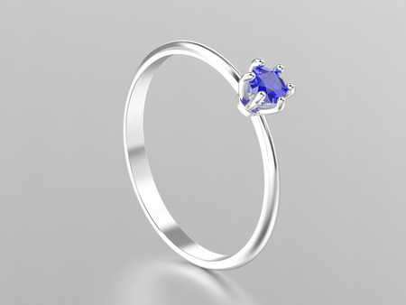 3D illustration white gold or silver traditional solitaire engagement ring with sapphire with reflection on a grey background