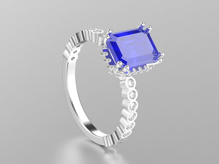 3D illustration white gold or silver  sapphire decorative ring with reflection on a white background Stock Photo