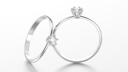 diamond ring: 3D illustration two white gold or silver traditional solitaire engagement diamond rings with reflection on a white background