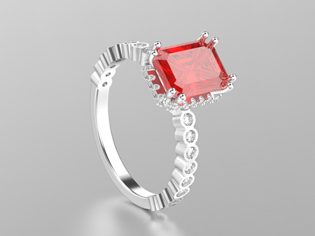 3D illustration white gold or silver ruby decorative ring with reflection on a white background