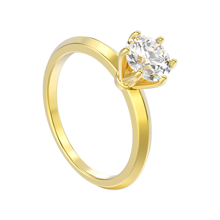 3D illustration isolated yellow gold traditional solitaire engagement diamond ring on a white background