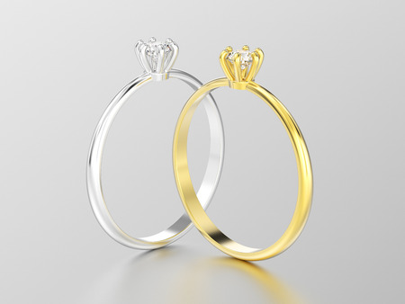 wedding couple: 3D illustration two white gold or silver and yellow gold traditional solitaire engagement diamond rings with reflection on a white background