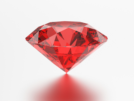 3D illustration red emerald round diamond ruby gemstone with reflection on a grey background