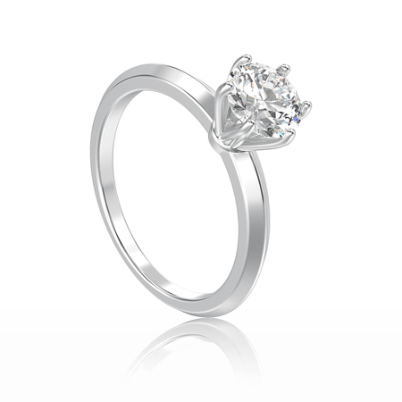 diamond ring: 3D illustration isolated white gold or silver traditional solitaire engagement diamond ring with reflection on a white background
