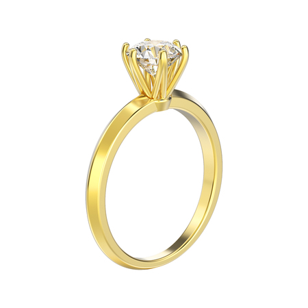 expensive: 3D illustration isolated yellow gold traditional solitaire engagement diamond ring on a white background