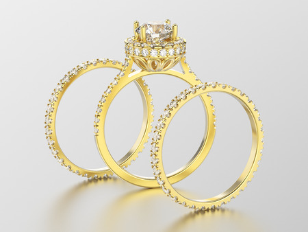 3D illustration three different yellow gold eternity band diamond rings and romantic ring with reflection on a white background