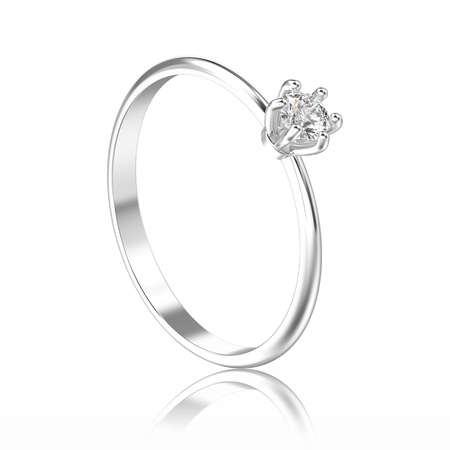 3D illustration isolated white gold or silver traditional solitaire engagement ring with diamond with reflection on a white background