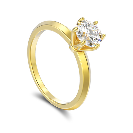 expensive: 3D illustration isolated yellow gold traditional solitaire engagement diamond ring with shadow on a white background