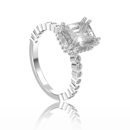 3D illustration isolated white gold or silver diamonds decorative ring with reflection on a white background