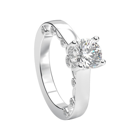 3D illustration isolated white gold or silver romantic engagement ring on a white background Stock Photo