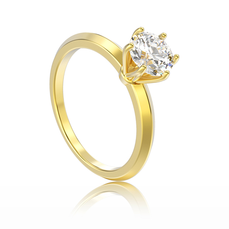 diamond ring: 3D illustration isolated yellow gold traditional solitaire engagement diamond ring with reflection on a white background Stock Photo