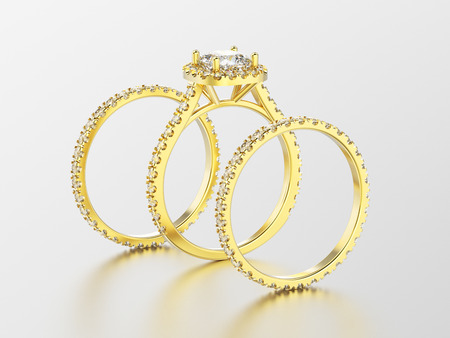 platinum: 3D illustration three different yellow gold eternity band diamond rings and romantic ring with reflection on a white background
