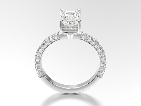 platinum: 3D illustration white gold or silver decorative diamond ring with reflection on a white background