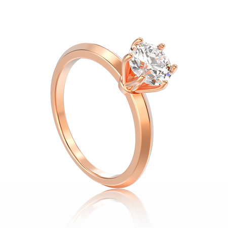 platinum: 3D illustration isolated rose gold traditional solitaire engagement diamond ring with reflection on a white background Stock Photo