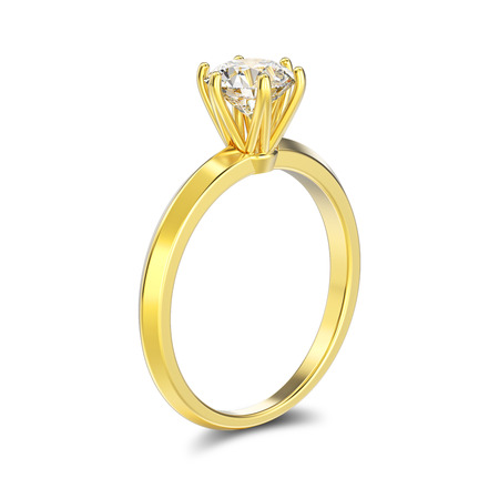 3D illustration isolated yellow gold traditional solitaire engagement diamond ring with shadow on a white background