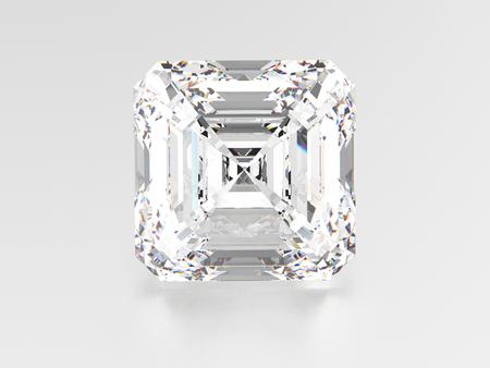 3D illustration asscher diamond stone on a grey background