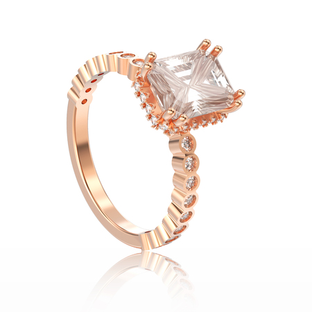 caras emociones: 3D illustration isolated rose gold diamonds decorative ring with reflection on a white background