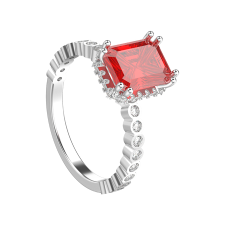 3D illustration isolated white gold or silver diamonds decorative ring with red ruby on a white background