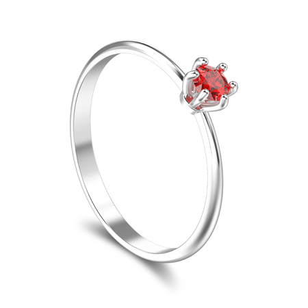 3D illustration isolated white gold or silver traditional solitaire engagement diamond ring with red ruby with shadow on a white background