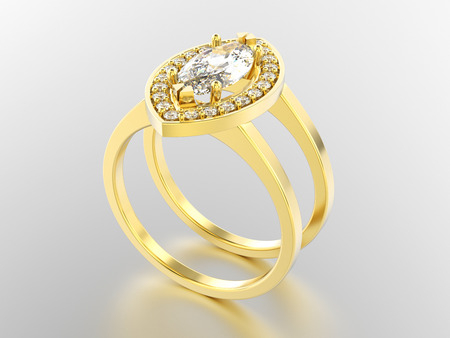 platinum: 3D illustration yellow gold two shanks diamond ring with reflection on a grey background