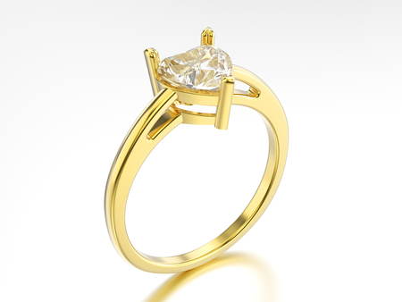 shiny hearts: 3D illustration isolated yellow gold engagement ring with diamond heart with reflection on a white background Stock Photo