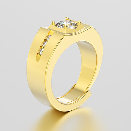 platinum: 3D illustration yellow gold men signet diamond ring with reflection on a grey background Stock Photo