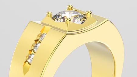 platinum: 3D illustration isolated zoom macro yellow gold men signet diamond ring on a grey background