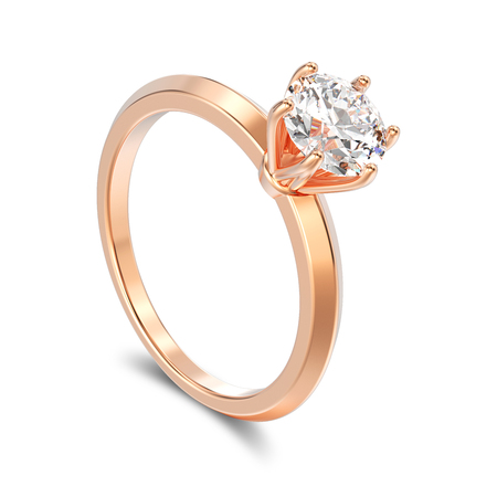 platinum: 3D illustration isolated rose gold traditional solitaire engagement diamond ring with shadow on a white background