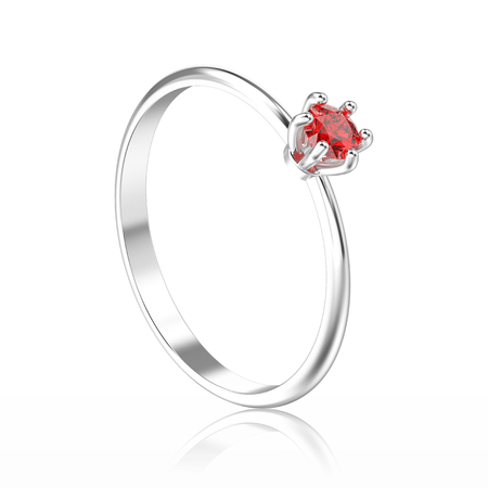 3D illustration isolated white gold or silver traditional solitaire engagement diamond ring with red ruby with reflection on a white background