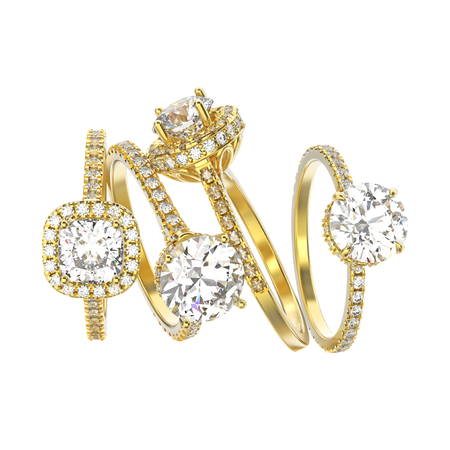 3D illustration four yellow gold traditional engagement ring with diamonds on a white background