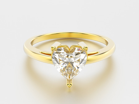shiny hearts: 3D illustration isolated yellow gold engagement ring with diamond heart with reflection on a grey background