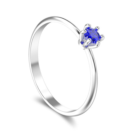 3D illustration isolated white gold or silver traditional solitaire engagement diamond ring with blue sapphire with shadow on a white background Stock Photo