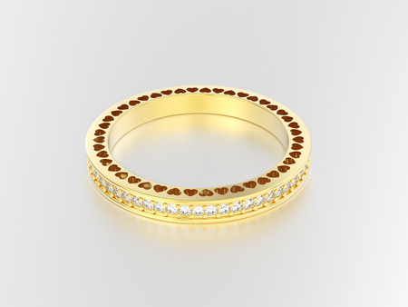 platinum: 3D illustration yellow gold eternity band ring with diamonds and hearts with reflection on a grey background Stock Photo