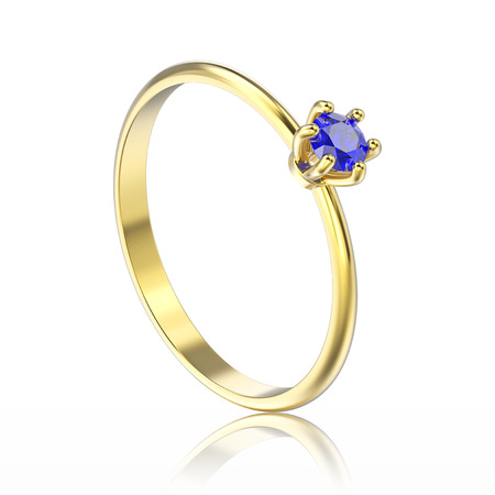 3D illustration isolated yellow gold traditional solitaire engagement ring with blue sapphire with reflection on a white background Stock Photo