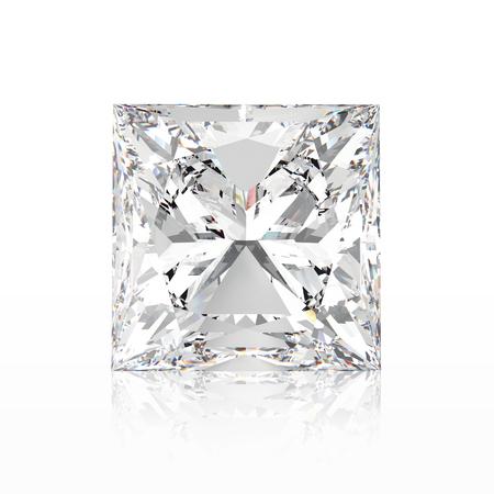 3D illustration princes diamond stone with reflection on a white background Stock Photo