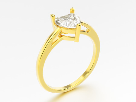 3D illustration yellow gold engagement ring with diamond heart with reflection on a grey background
