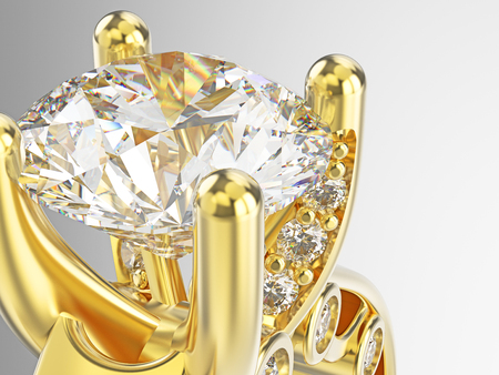 platinum: 3D illustration isolated zoom macro yellow gold engagement ring with diamonds on a grey background