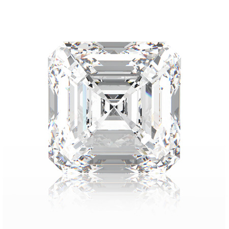 asscher cut: 3D illustration asscher diamond stone with reflection on a white background Stock Photo