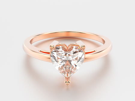 platinum: 3D illustration rose gold engagement ring with diamond heart with reflection on a grey background Stock Photo