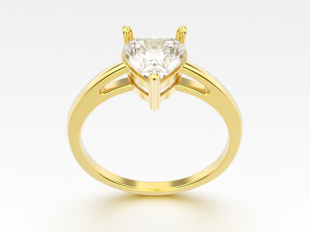 shiny hearts: 3D illustration yellow gold engagement ring with diamond heart with reflection on a grey background