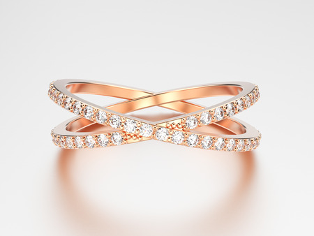3D illustration rose gold two shanks diamond ring with reflection on a grey background