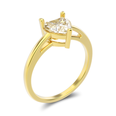 3D illustration isolated yellow gold engagement ring with diamond heart with shadow on a white background