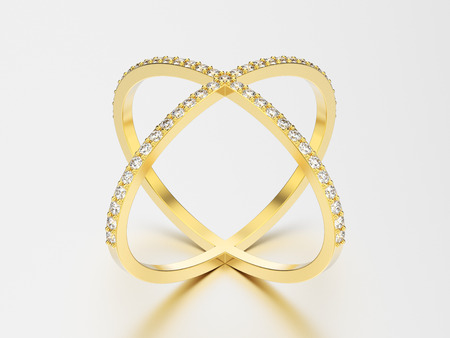 platinum: 3D illustration yellow gold two shanks diamond ring with reflection and shadow on a grey background