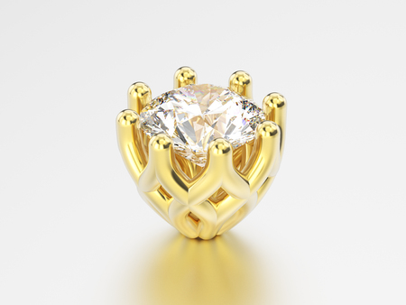 3D illustration yellow gold decorative diamond setting on a grey background