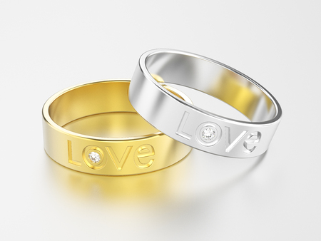 platinum: 3D illustration two white gold or silver and yellow gold engagement ring with diamond and love word with reflection