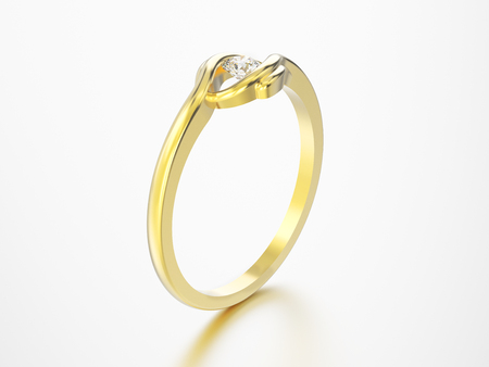 3D illustration isolated yellow gold engagement illusion twisted ring with diamond with reflection on a grey background