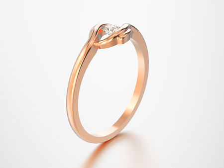 3D illustration isolated rose gold engagement illusion twisted ring with diamond with reflection on a grey background