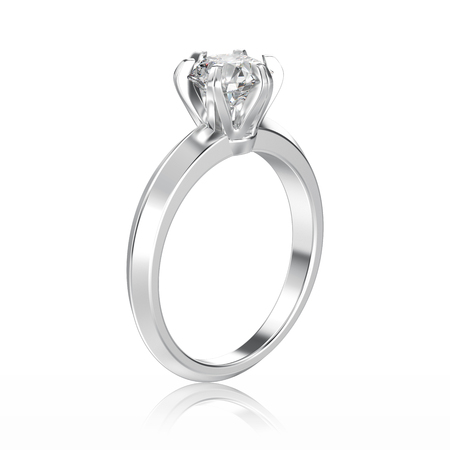 3D illustration isolated white gold or silver traditional solitaire engagement diamond ring with reflection on a white background